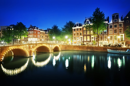 river view: Canal in Amsterdam at night, Netherlands