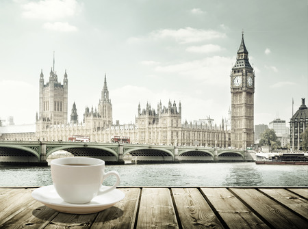 cup of tea: Big Ben and cup of coffee, London, UK