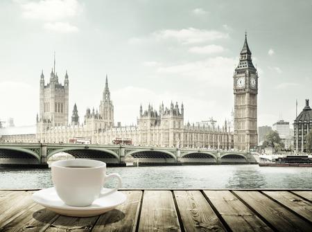 taza de té: Big Ben y una taza de café, Londres, Reino Unido