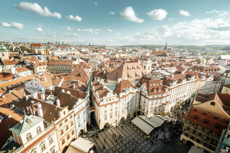 view from town hall tower, old town square, Prague Imagens