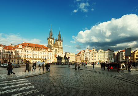 tyn: Old Town Square in Prague. Czech Republic Stock Photo