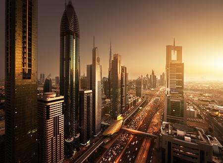 Dubai skyline in sunset time, United Arab Emirates Фото со стока
