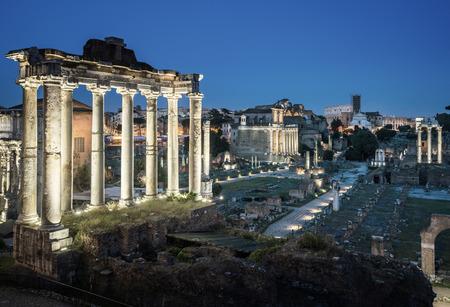 Roman Forum in Rome at sunset, Italy Stock Photo