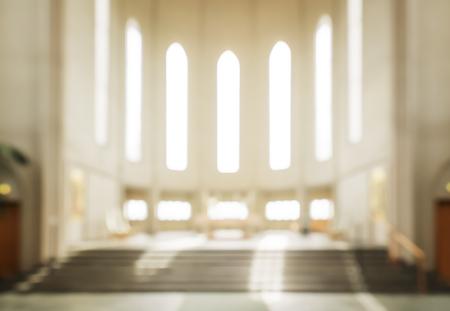 congregation: bokeh interior of modern  lutheran, christian church