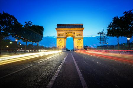 triumphal: Arc de Triumph at evening, Paris, France