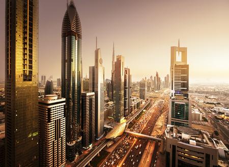 mid morning: Dubai skyline in sunset time, United Arab Emirates Editorial