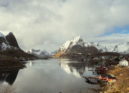 rorbuer: spring in Reine Village, Lofoten Islands, Norway