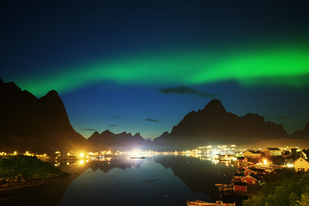 norway: Nothern Lights and Reine, Lofoten Islands, Norway