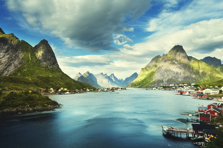rorbuer: summer day, Reine Village, Lofoten Islands, Norway