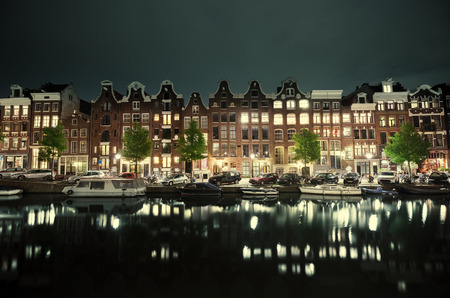 amstel river: night view of Amsterdam, Holland Stock Photo