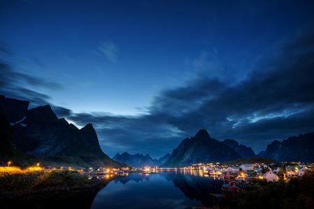 sunset time Reine Village, Lofoten Islands, Norway Stock Photo