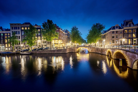 night view of Amsterdam, Holland Stock Photo
