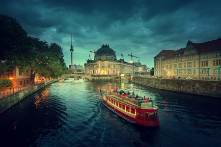 spree: Museum Island on Spree river and Tv Tower view, Berlin Editorial