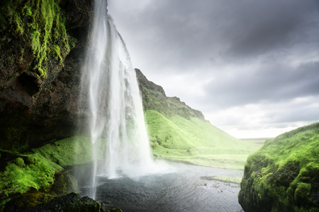 glacial: Seljalandfoss waterfall in summer time, Iceland