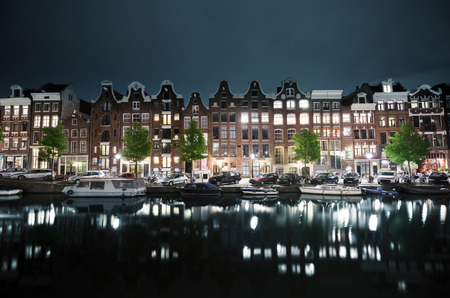 holland: night view of Amsterdam, Holland Stock Photo