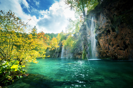 waterfall in forest, Plitvice Lakes, Croatia 版權商用圖片 - 67060022