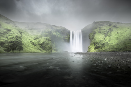 water flow: Skogafoss waterfall, Iceland Stock Photo