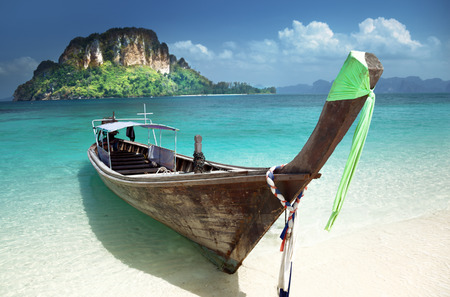 aonang: boat on small island in Thailand Stock Photo
