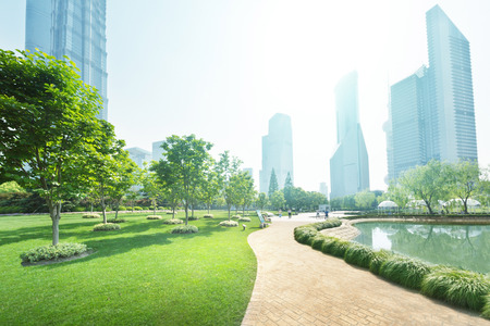 park in lujiazui financial center, Shanghai, China 스톡 콘텐츠