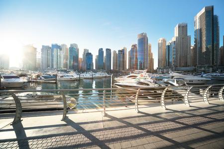 mid morning: Dubai Marina at sunset, United Arab Emirates Stock Photo