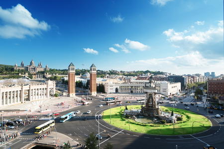 avenues:  Barcelona,  Square of Spain Stock Photo