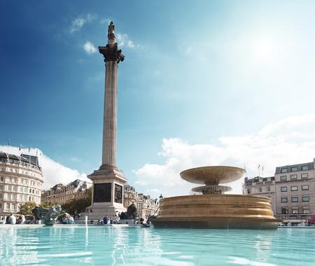 trafalgar: fountain on the Trafalgar Square, London, UK   Stock Photo