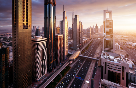Dubai skyline in sunset time, United Arab Emirates Stok Fotoğraf