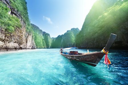 boat and beautiful sea, Phi Phi island, Thailand