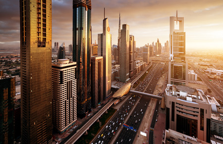 Dubai skyline in sunset time, United Arab Emirates Imagens