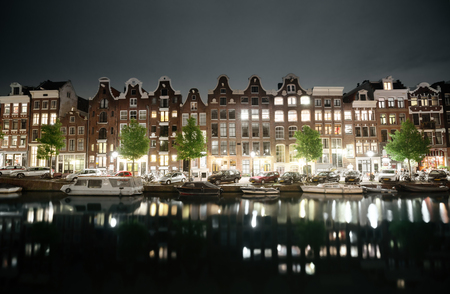 north holland: night view of Amsterdam, Holland Stock Photo