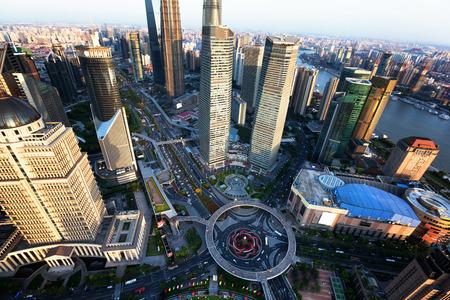 city of sunrise: Shanghai sunset time, China Stock Photo
