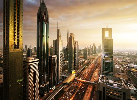 mid morning: Dubai skyline in sunset time, United Arab Emirates Stock Photo