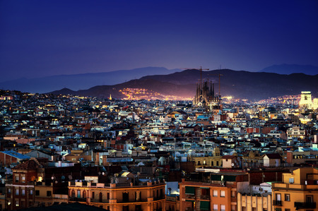 Barcelona in sunset time, Spain 版權商用圖片 - 70614625