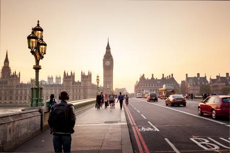 일몰, 런던, 영국 웨스트 민스터 다리