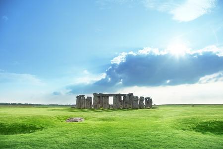 sunny day and Stonehenge, UK Stock Photo