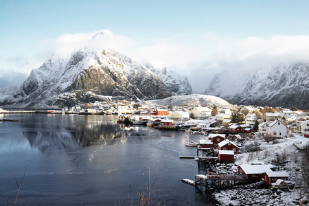 island: snow in Reine Village, Lofoten Islands, Norway Stock Photo