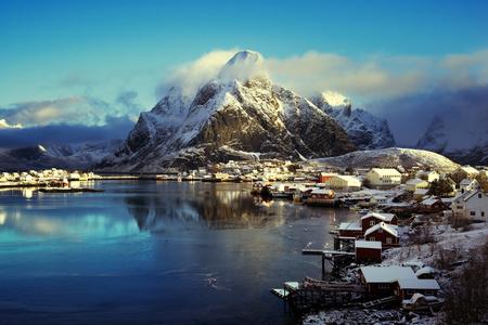 winter sunrise: snow in Reine Village, Lofoten Islands, Norway Stock Photo
