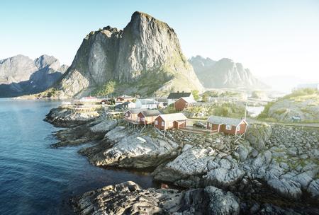 Fishing hut at summer time - Reine, Lofoten islands, Norway