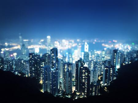 tilt:  Hong Kong from  Victoria peak, ltilt shift photo Stock Photo