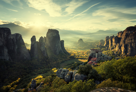 Meteora monasteries in Greece Stock Photo