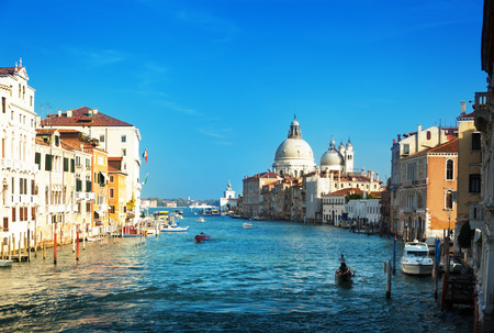 european: Grand Canal and Basilica Santa Maria della Salute, Venice, Italy Stock Photo