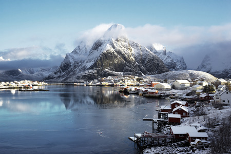 cold: snow in Reine Village, Lofoten Islands, Norway Stock Photo