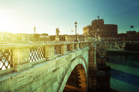 Sant Angelo Castle and Bridge in sunset time, Rome, Italy