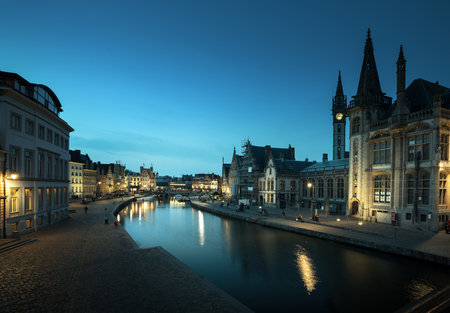 Leie river in Ghent town, Belgium Stock Photo