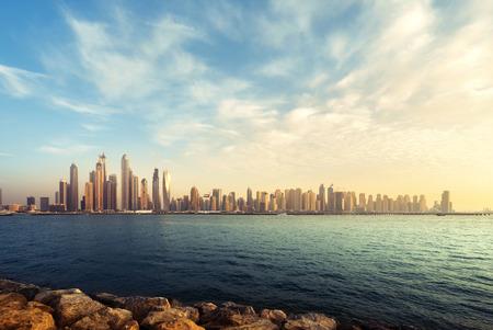 panorama of skyscrapers in Dubai Marina, sunset time, UAE Stok Fotoğraf