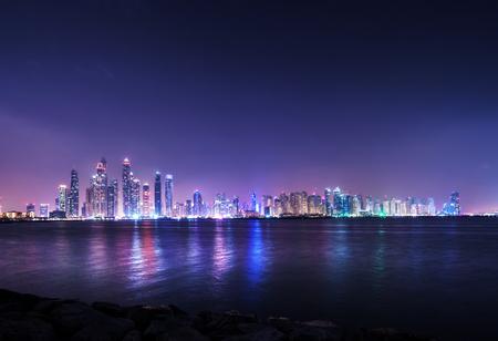 panorama of skyscrapers in Dubai Marina, sunset time, UAE Stock Photo