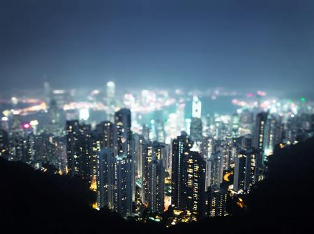 night shift:  Hong Kong from  Victoria peak, ltilt shift photo Stock Photo