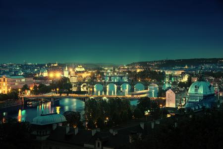 Bridges at night, Prague, Czech Republic Stock Photo