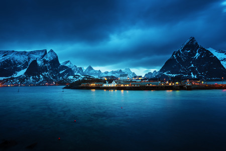 winter sunrise: Sakrisoy village at sunset time, Lofoten islands, Norway Stock Photo