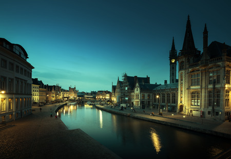 Leie river in Ghent town, Belgium Stock Photo